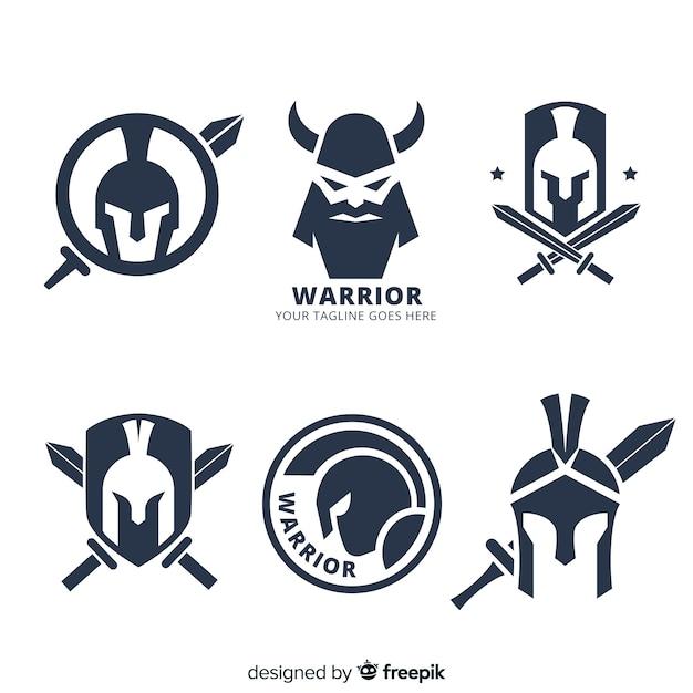Collezione moderna di logo sportivo guerriero Vettore gratuito