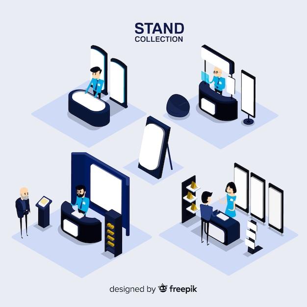 Collezione moderna di stand con vista isometrica Vettore gratuito
