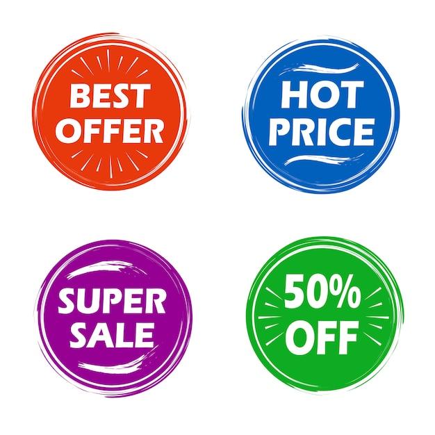Collezione moderna distintivi in vendita Vettore gratuito