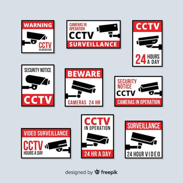 Collezione moderna segno cctv con design piatto Vettore gratuito
