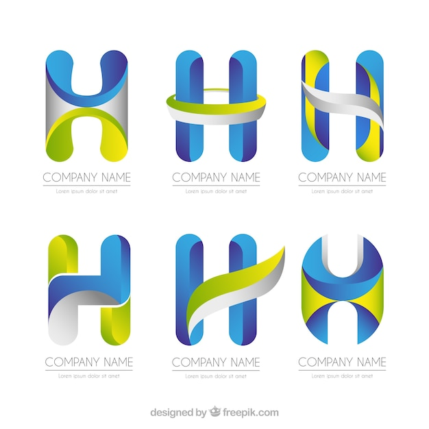 Collezione multicolore della lettera h Vettore gratuito