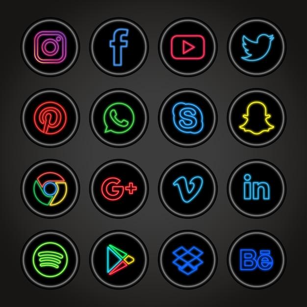 Collezione neon social networks Vettore Premium