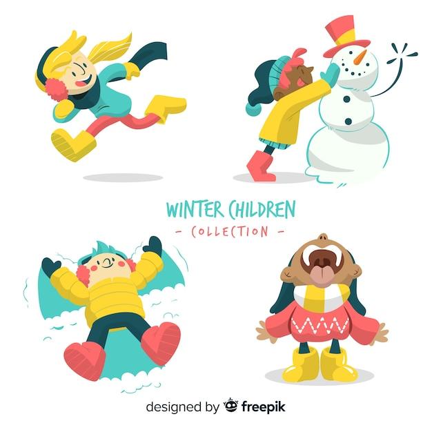 Collezione per bambini invernali Vettore gratuito