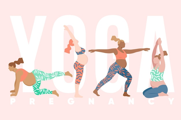Collezione piatta di persone che fanno yoga Vettore gratuito