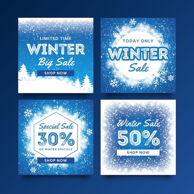 Collezione post di instagram di saldi invernali Vettore gratuito