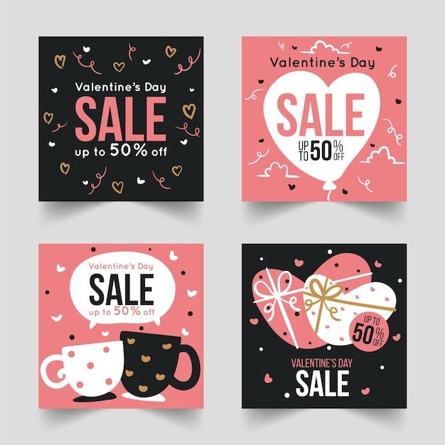 Collezione post di instagram di vendita di san valentino Vettore gratuito