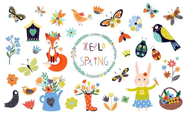 Collezione primavera con elementi decorativi di stagione Vettore Premium