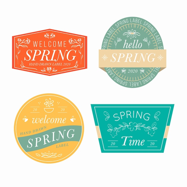 Collezione primavera etichetta forme geometriche floreali Vettore gratuito