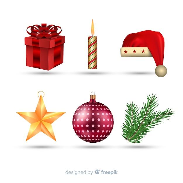Collezione realistica di elementi natalizi Vettore gratuito