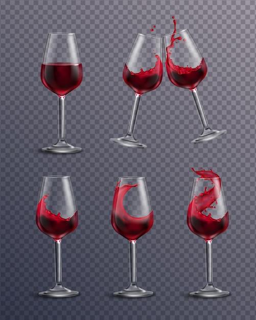 Collezione realistica trasparente di bicchieri riempiti con vino rosso Vettore gratuito