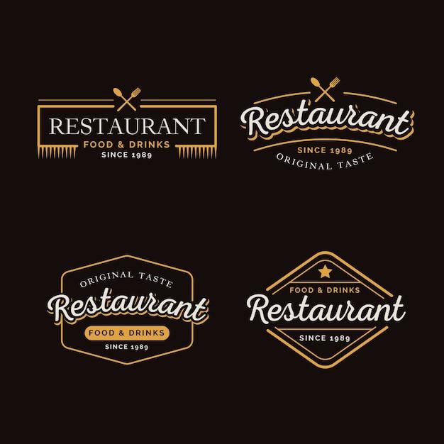 Collezione ristorante retrò logo Vettore gratuito