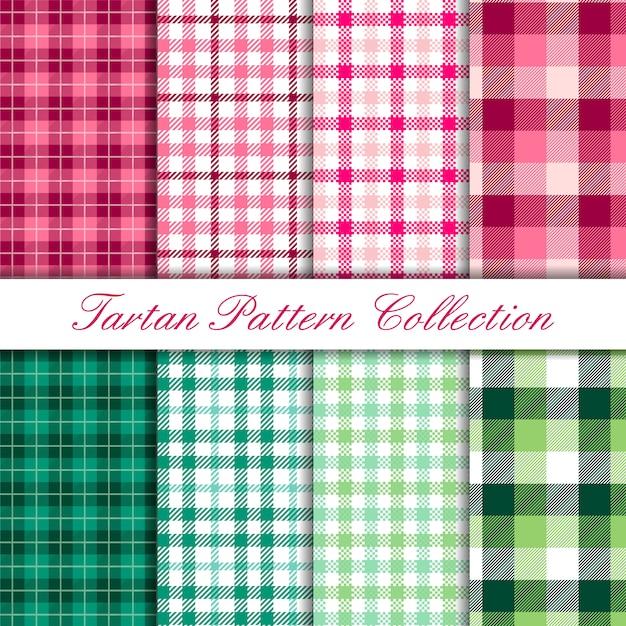 Collezione rosa e verde di set di motivi di bufalo scozzese Vettore Premium