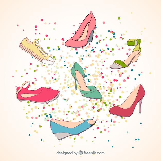 Collezione scarpe disegnate a mano Vettore gratuito