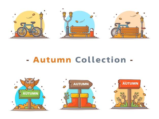 Collezione scena autunno felice Vettore Premium