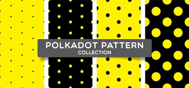 Collezione seamless pattern alla moda a pois. Vettore Premium