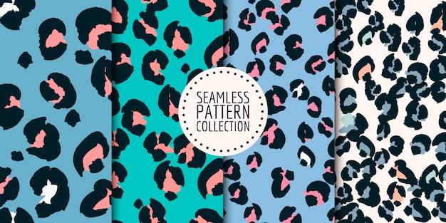 Collezione seamless pattern macchie di leopardo Vettore Premium