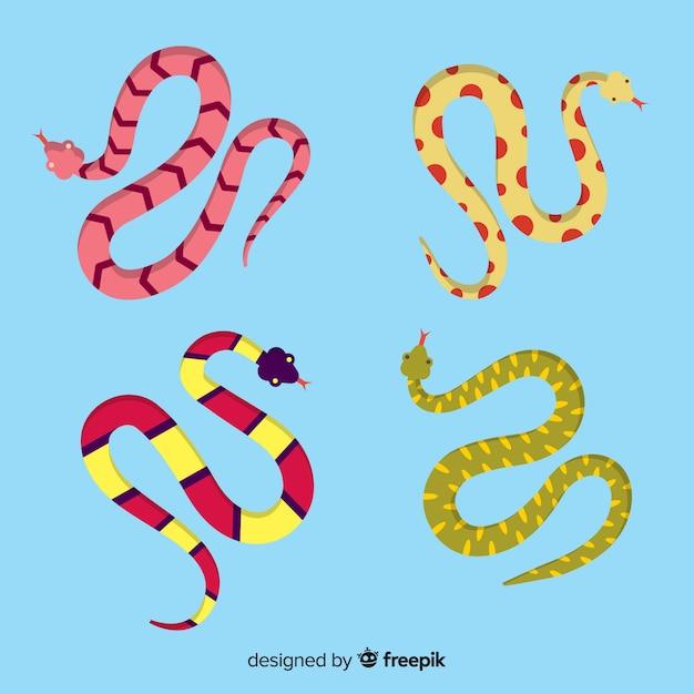 Collezione serpente disegnata a mano Vettore gratuito