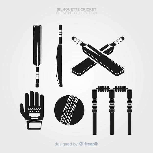 Collezione silhouette di elementi di cricket Vettore gratuito