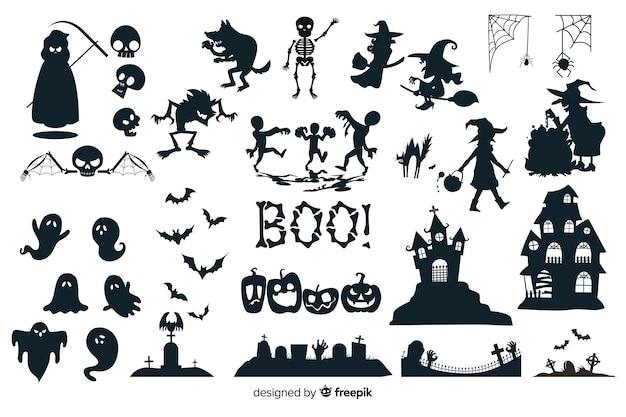 Collezione silhouette di halloween Vettore gratuito
