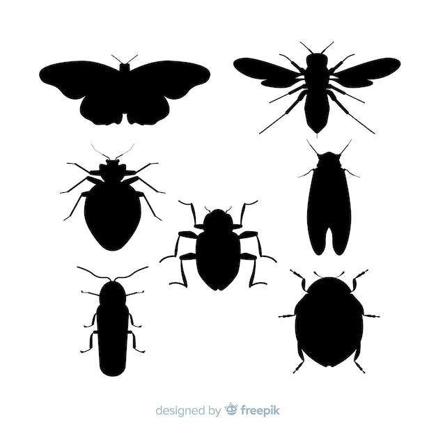 Collezione silhouette di insetti piatto Vettore gratuito
