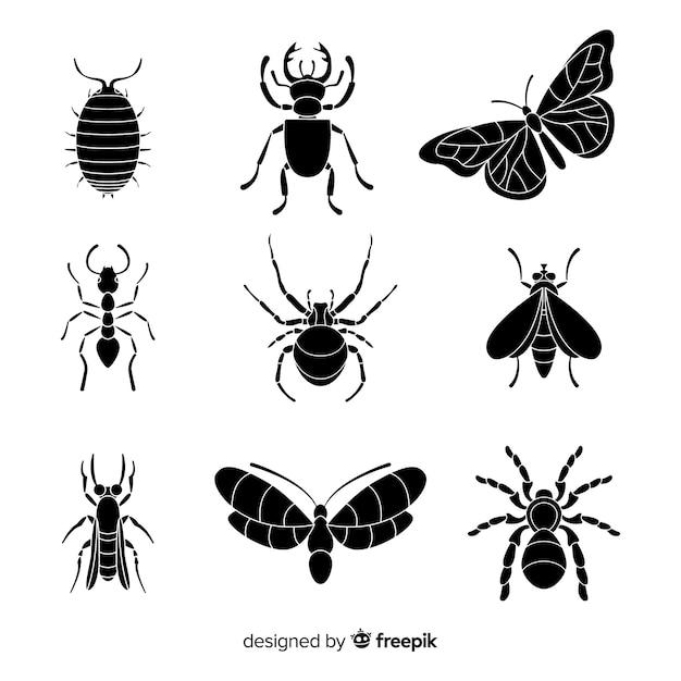 Collezione silhouette di insetti Vettore gratuito