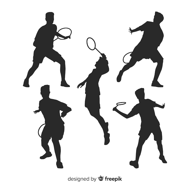 Collezione silhouette piatto giocatore di badminton Vettore gratuito