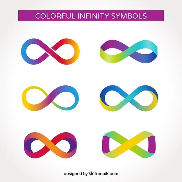 Collezione simbolo infinito colorato con design piatto Vettore gratuito
