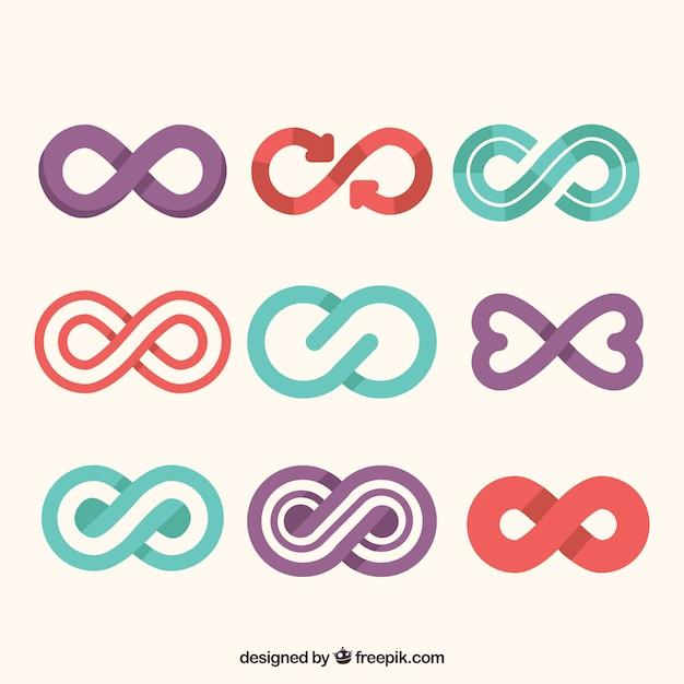 Collezione simbolo infinito colorato Vettore gratuito