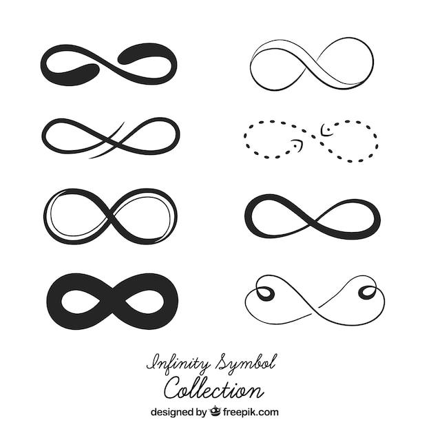 Collezione simbolo infinito in colore nero Vettore gratuito