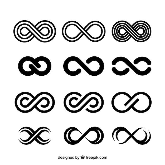 Collezione simbolo infinito nero Vettore gratuito