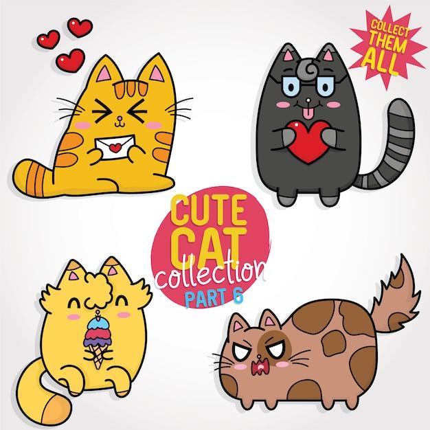Collezione simpatico gatto Vettore Premium