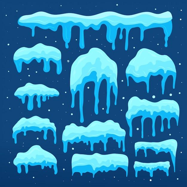 Collezione snow cap. set di elemento di design di neve Vettore Premium