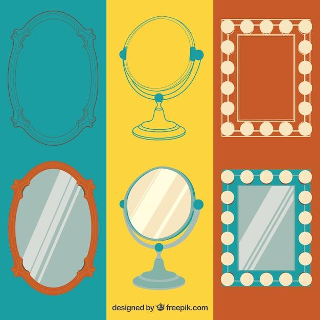 Collezione specchi retro Vettore gratuito