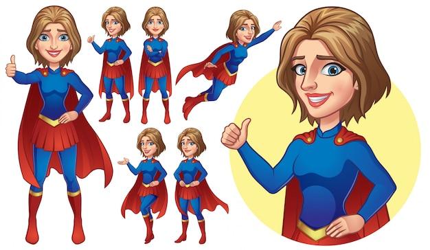 Collezione superhero girl Vettore Premium