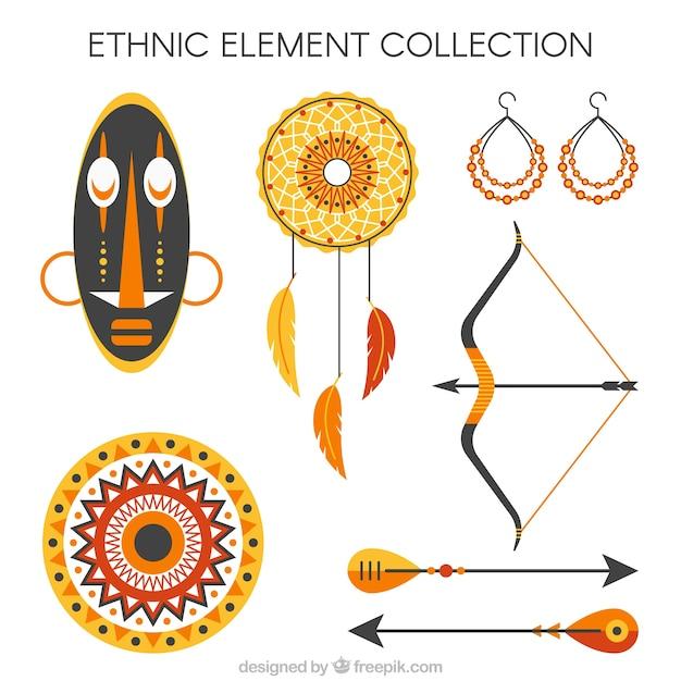 Collezione sveglia di oggetti etnici Vettore gratuito