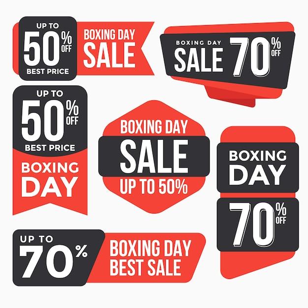 Collezione tag tag di vendita boxing day Vettore Premium