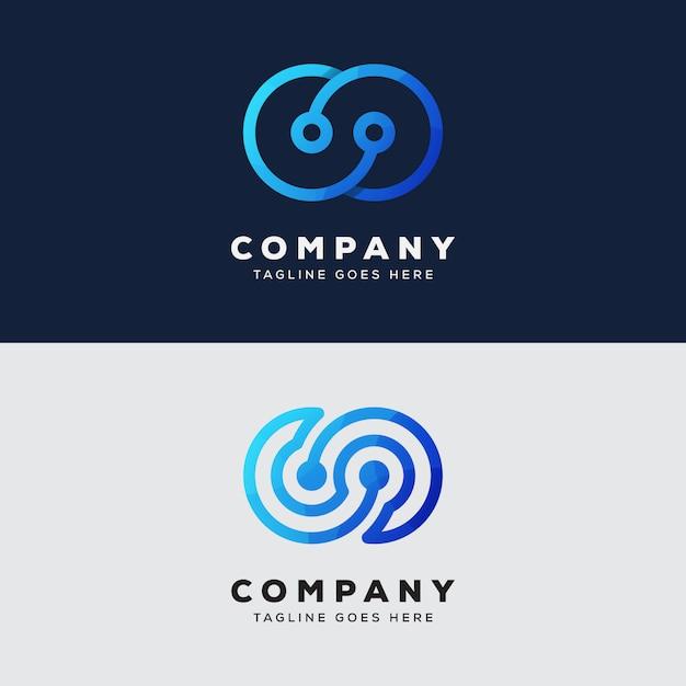 Collezione tecnologia infinito logo design vettore premium Vettore Premium