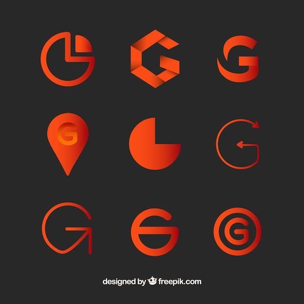 Collezione template lettera g g logo Vettore gratuito