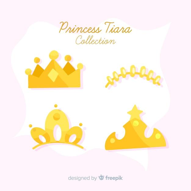 Collezione tiara principessa oro piatto Vettore gratuito
