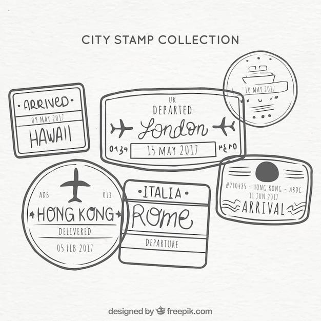Collezione timbro di città disegnata a mano Vettore gratuito