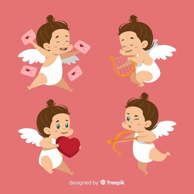 Collezione valentine cupid di brunette Vettore gratuito