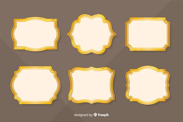 Collezione vintage cornice dorata piatta Vettore gratuito