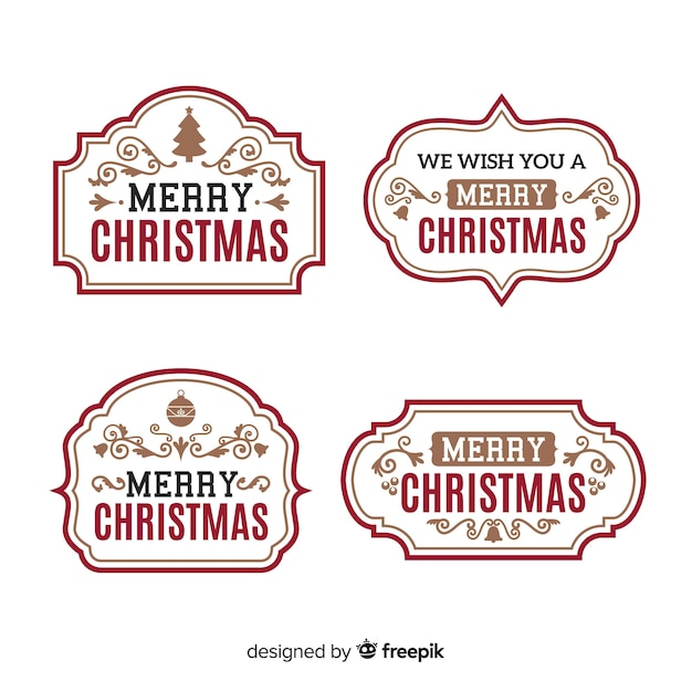 Collezione vintage di etichette natalizie Vettore gratuito