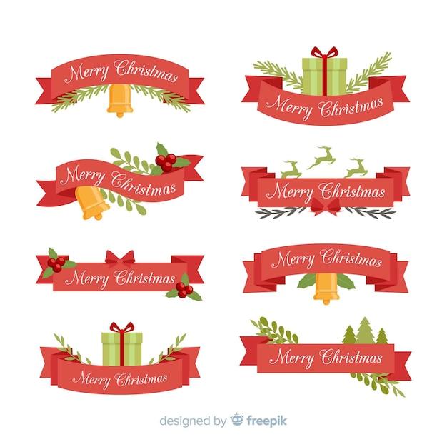 Collezione vintage di nastri natalizi Vettore gratuito