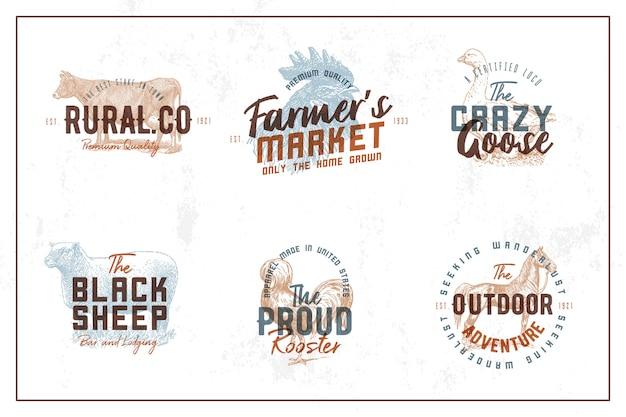 Collezione vintage farm logo Vettore Premium