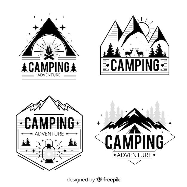 Collezione vintage logo di avventura Vettore gratuito