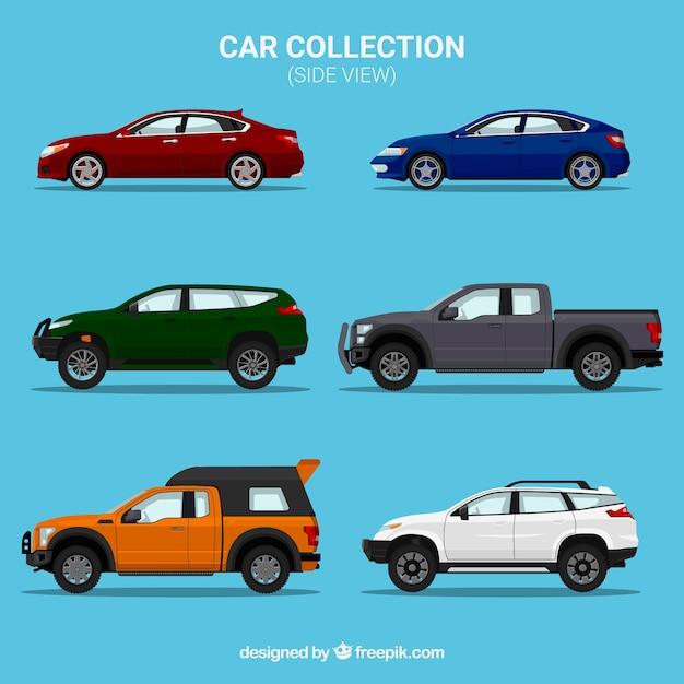 Collezione vista laterale di sei vetture diverse Vettore gratuito