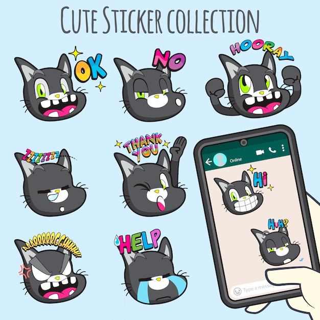 Collezioni di adesivi emoji gatto carino Vettore Premium