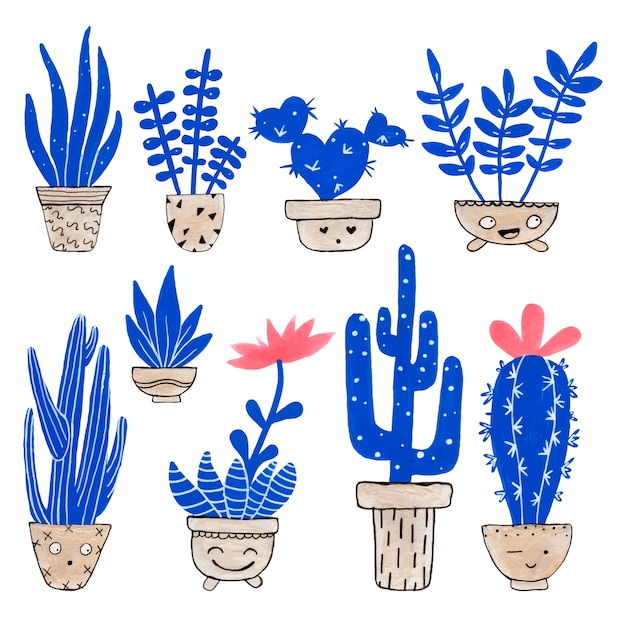 Collezioni di cactus piacevoli Vettore Premium