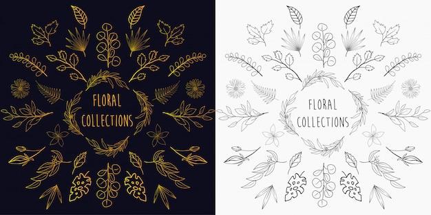 Collezioni di elementi floreali disegnati a mano Vettore Premium